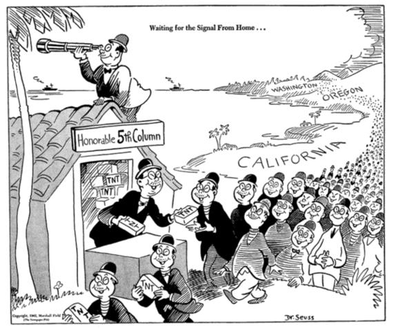 Caricatura con propaganda antijaponesa de la época