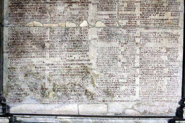Calendario Romano con los nombres de los cónsules por año, en los Museos Capitolinos