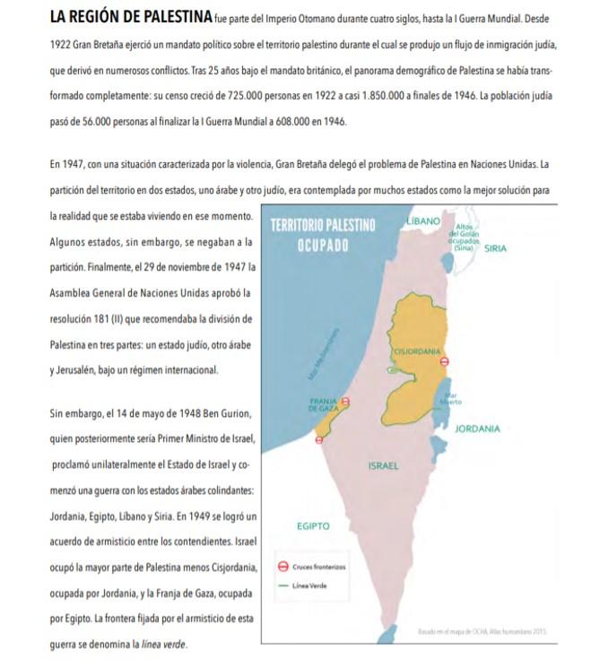 Desde el fin de la guerra árabe–israelí de 1967, Cisjordania y la Franja de Gaza se encuentran bajo un régimen jurídico de ocupación militar por parte de Israel, incumpliendo el Derecho Internacional Humanitario