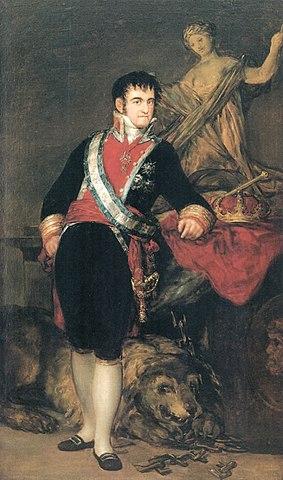 Fernando VII retratado por Goya (al parecer los adornos reales son de atrezzo, los orginales se los llevaron los franceses)
