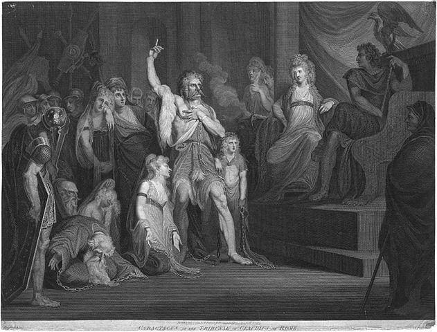 Grabado del emperador Claudio juzgando a Caracatus