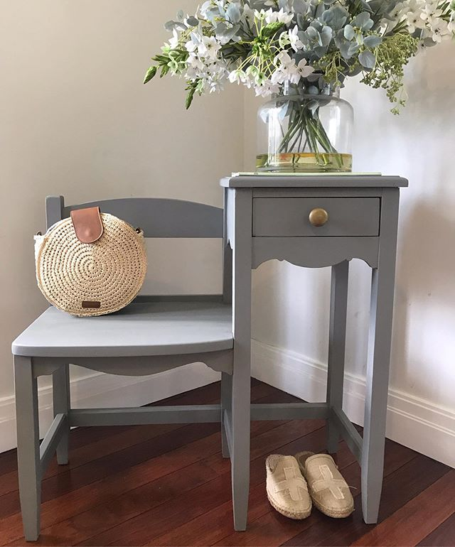Vintage telephone table painted in a country grey chalk paint and teamed with rustic gold hardware for a client - such a cute entryway / hallway piece of furniture #countrygrey #hallway #entrywaydecor #vintagefurniture #customjob #telephonetable #therjhcollection