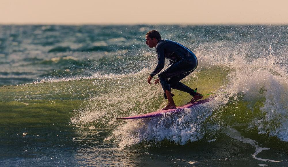 Surfing at Llangrannog