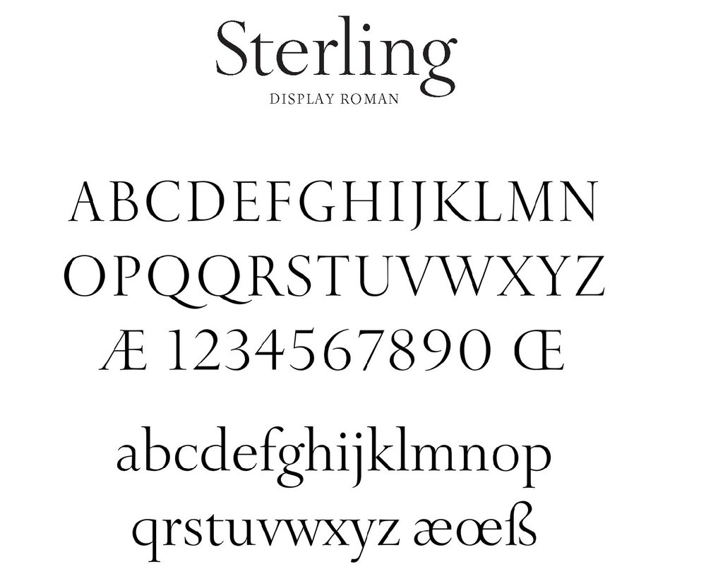 Tiffany Sterling - This font, created exclusively for Tiffany, drew inspiration from the letters carved in stone on Tiffany's New York flagship, while injecting a modernity that transcends its timelessness.