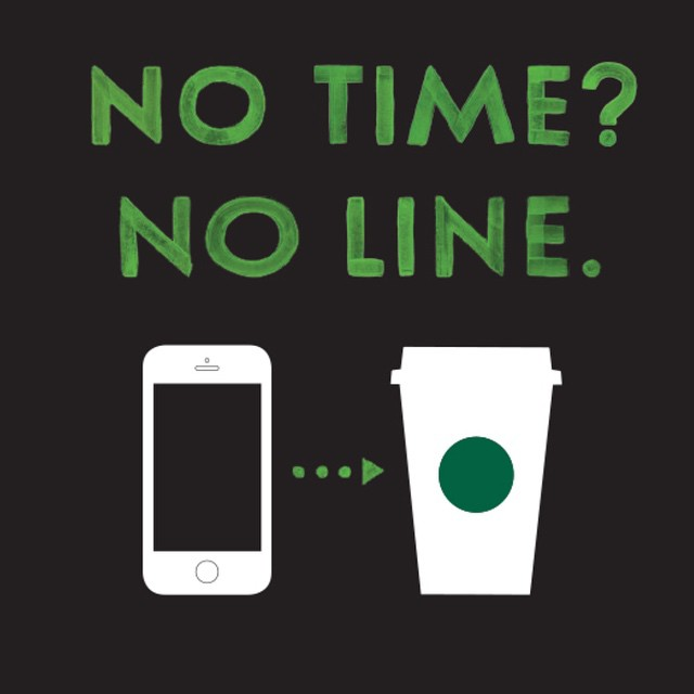 Coffee to go - The visual vocabulary developed for Starbucks' mobile order and pay app featured the brand's core color and iconic green dot, and telegraphed the simplicity of the process.