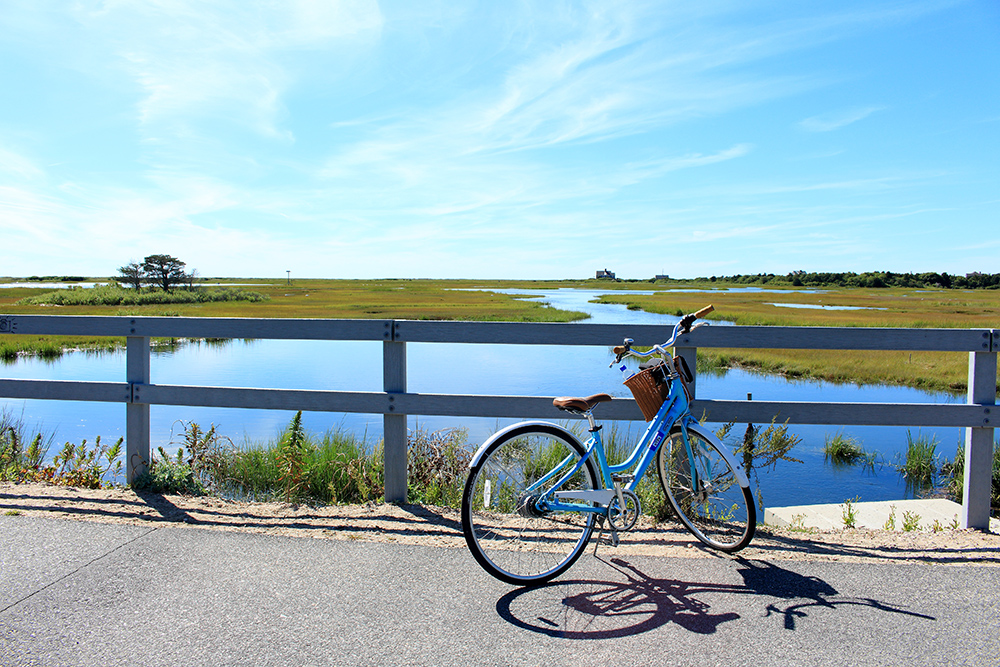 The Shining Sea Bikeway is a rail trail on Cape Cod in Falmouth, Massachusetts, in the northeastern United States. The path runs for over ten miles, from the Woods Hole Ferry terminal in Woods Hole to North Falmouth.