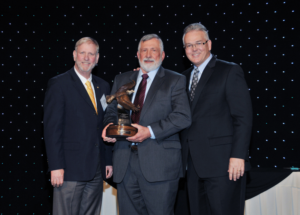 2016 - The recipient of the first Don Chalmers Passion for Excellence Award was Dr. Mike Sather, Center Director Emeritus, VA Cooperative Studies Program Clinical Research Pharmacy Coordinating Center in Albuquerque (center).  The Award was presented by Greg Chalmers, brother of the late Don Chalmers (left) and Steve Keene (right), Managing Partner of Moss Adams, LLP and 2015-16 Board Chair.