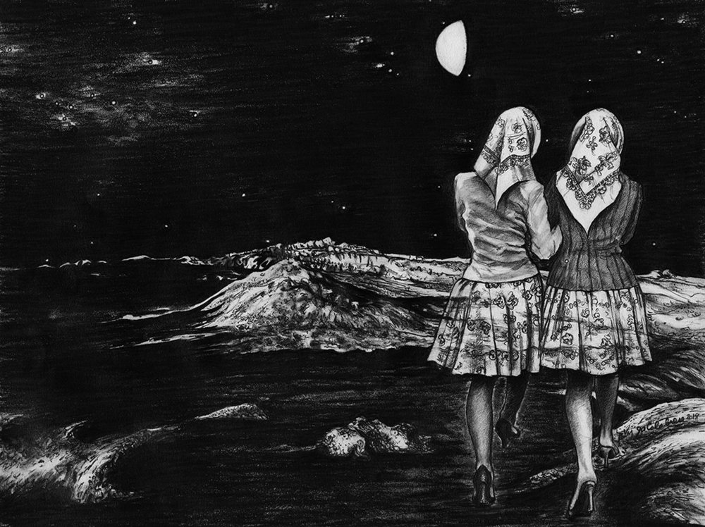 The Pilgrimage - Take to the Sky, Supernatural High   Graphite on Paper 16x20 in. Matted / Framed