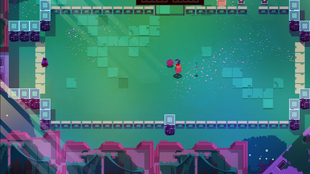 An example  Hyper Light Drifter's  mystery. What iis this game where you kick a ball about a grassy field...