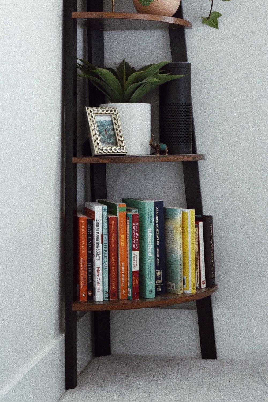 wooden corner book shelf.JPG