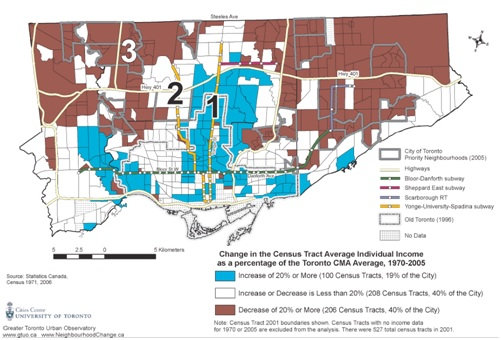 Map 1:  Change in average individual income, City of Toronto, Relative to the Toronto CMA, 1970-2005. [10]