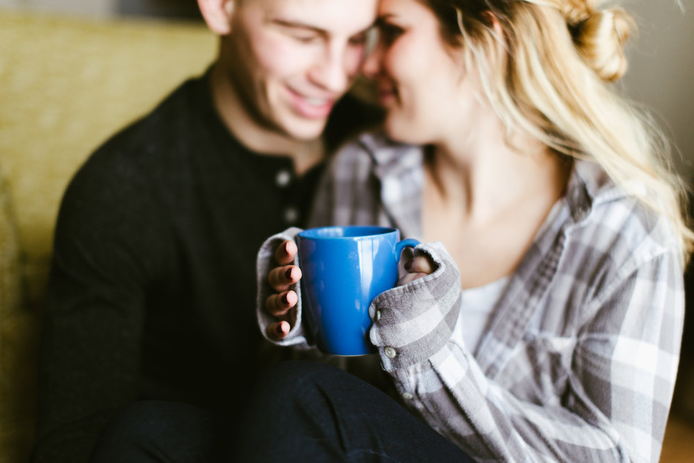 Cup Full of Cozy - Lauren & Kube's in-home couple's session was a success. Her goofiness is what made this such a beautiful session.