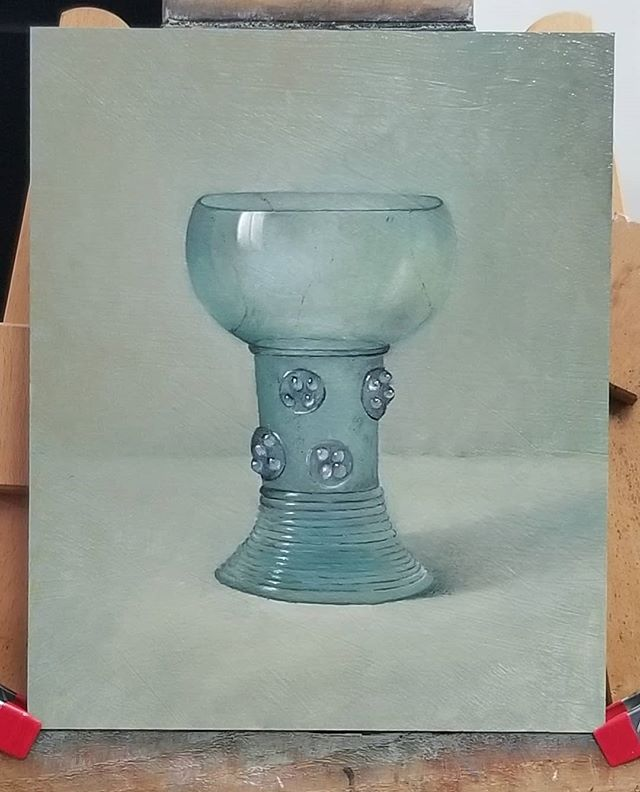 Another goblet I'm working on.  Not sure yet, where to, or where not to bring it... Tomorrow shall tell. #wip #oilpainting #stilllife #stilleven #stilleben #study #glass #goblet #art #gallery  #antique #new #handmade #craft #craftsman #glassart #kunst #アート #艺术 #Изобразительное искусство #arte  #konst