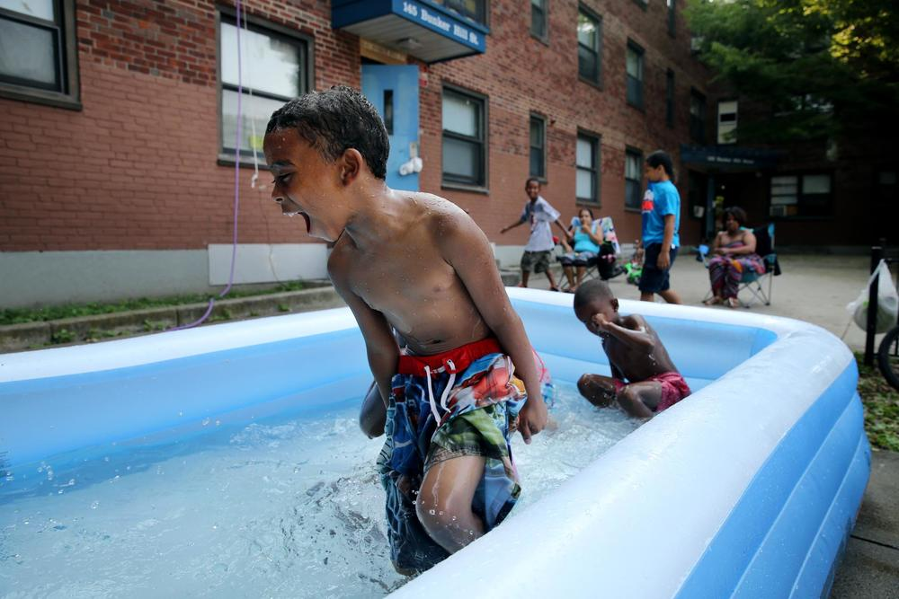 Arthur Hodges played in a pool at the Bunker Hill development in Charlestown last month