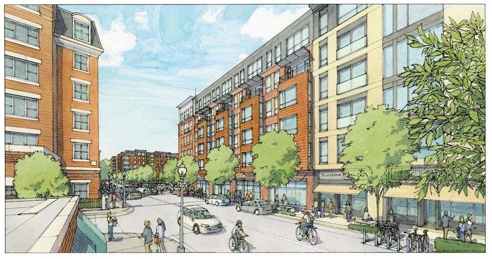 A rendering of what Bunker Hill Street would look like after Phase I of One Charlestown is completed, with six-story buildings of row houses and more foot traffic due to retail.