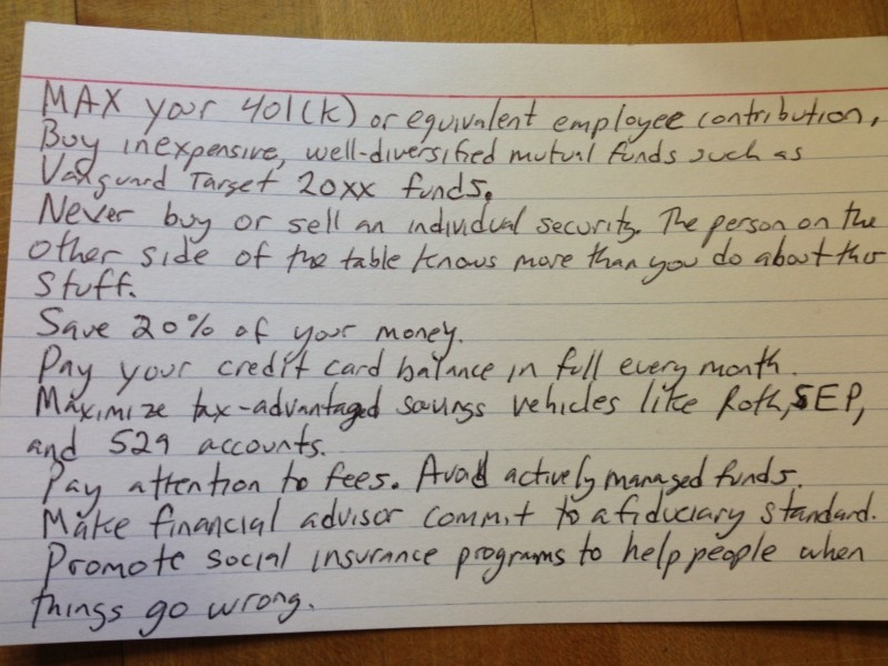 Harold Pollack's index card summarizes his most important financial advice
