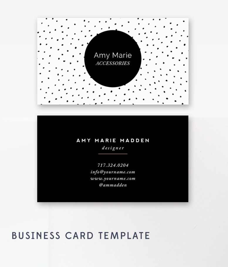 Polka Dot Business Card Template - Photoshop Templates — By ...
