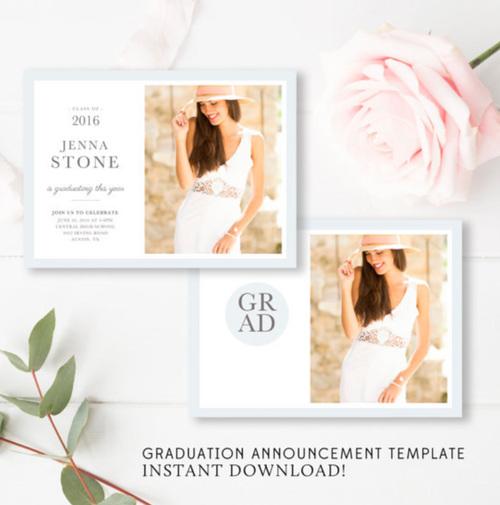 modern senior marketing set senior announcement template girls