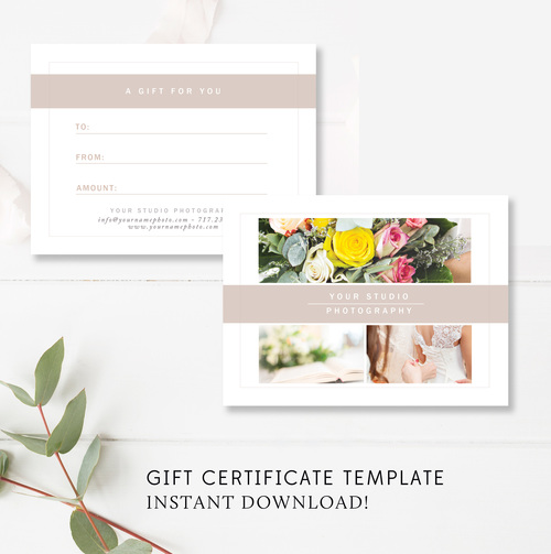 Photography Gift Certificate Template — By Stephanie Design
