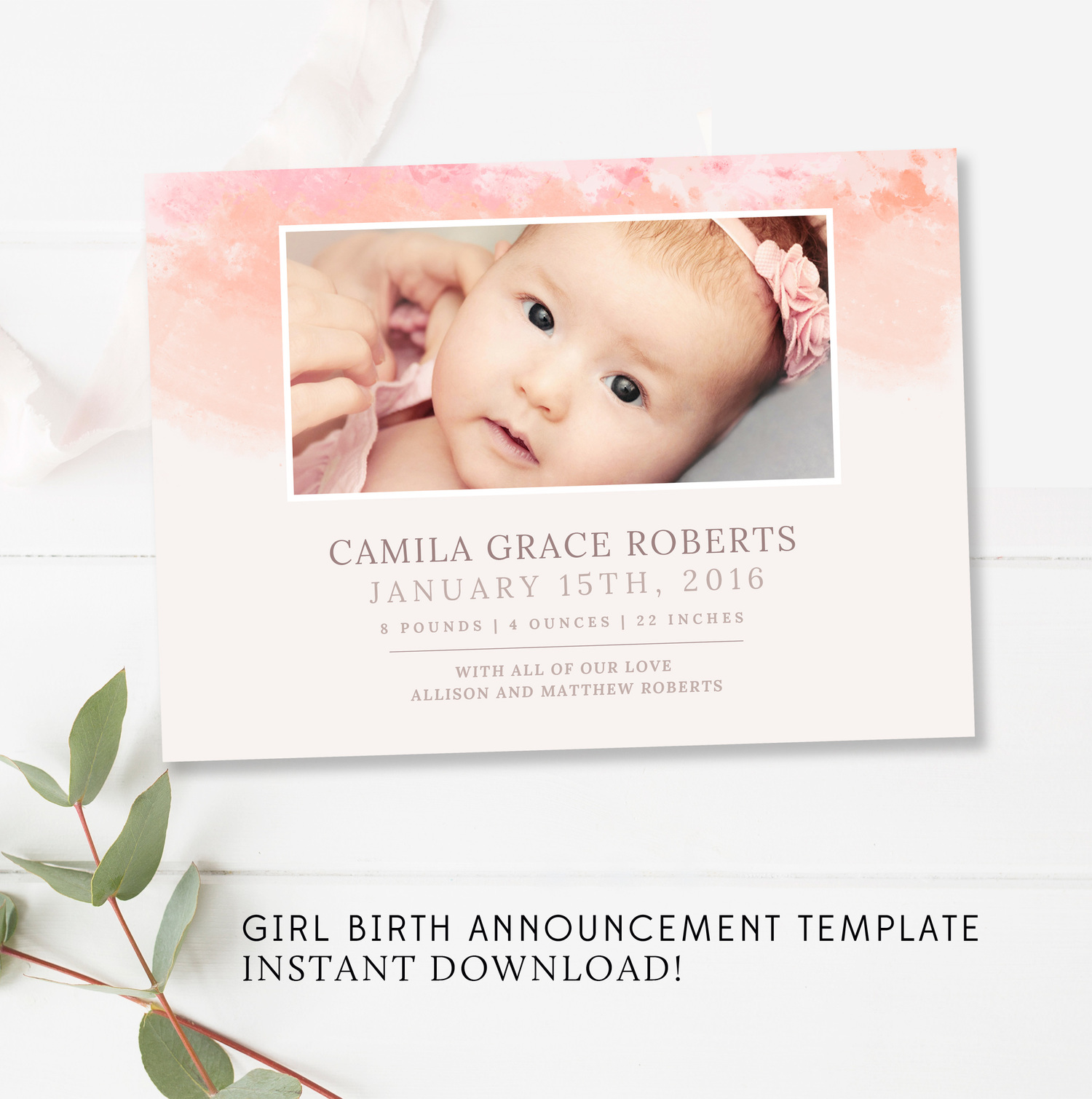 birth announcement template free download