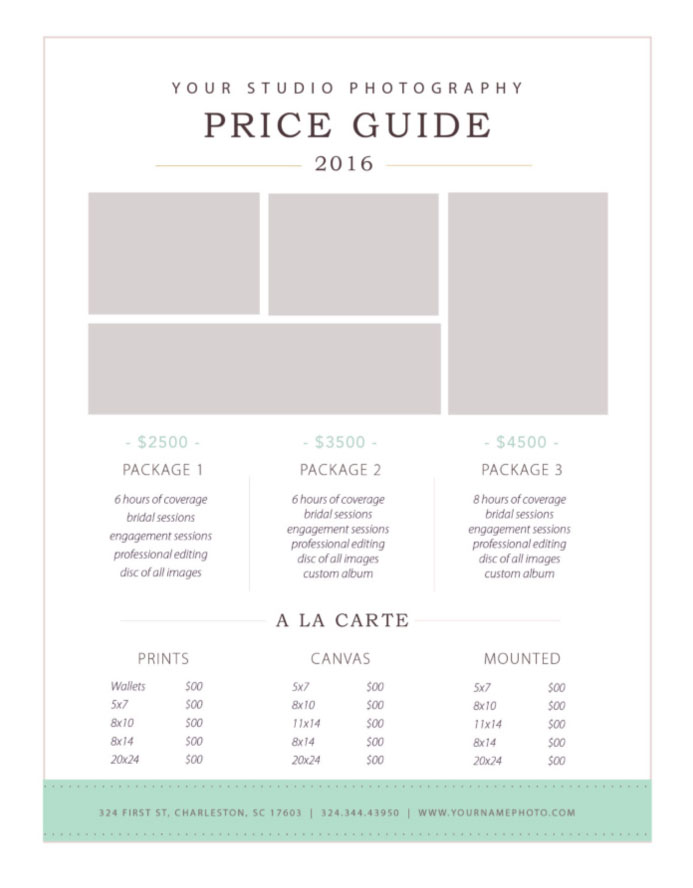 photography price list template by stephanie design. Black Bedroom Furniture Sets. Home Design Ideas