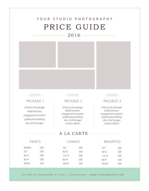 photography price list template by stephanie design