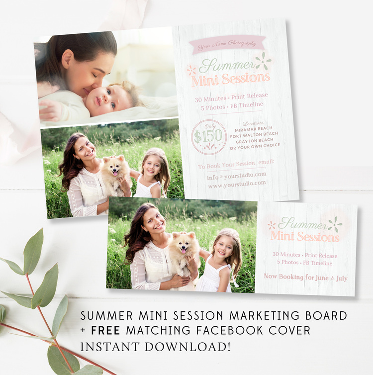 Summer Mini Session Marketing Board + FREE matching Facebook Timeline
