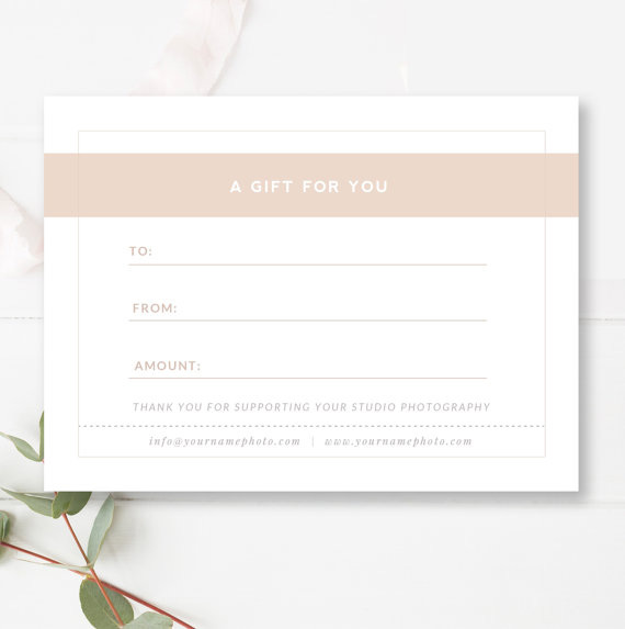 Photography Gift Certificate Template - Gift Card Templates — By ...