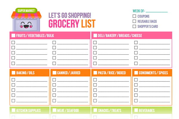 Free Printable Grocery List Templates New Shop Addition