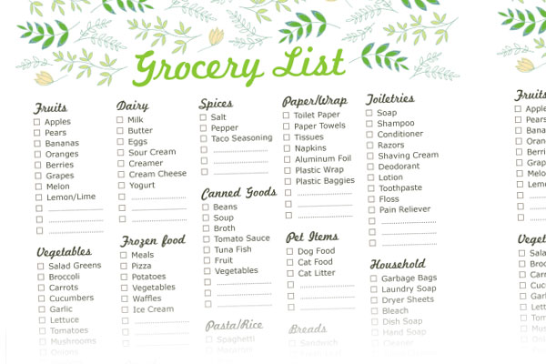 Grocery List TemplateGrocery List Template 7 Shopping List