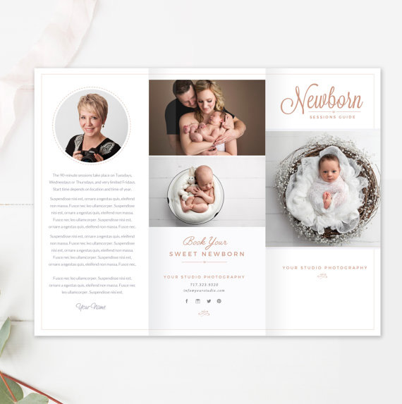 Newborn trifold brochure flyer photography guide sell sheet