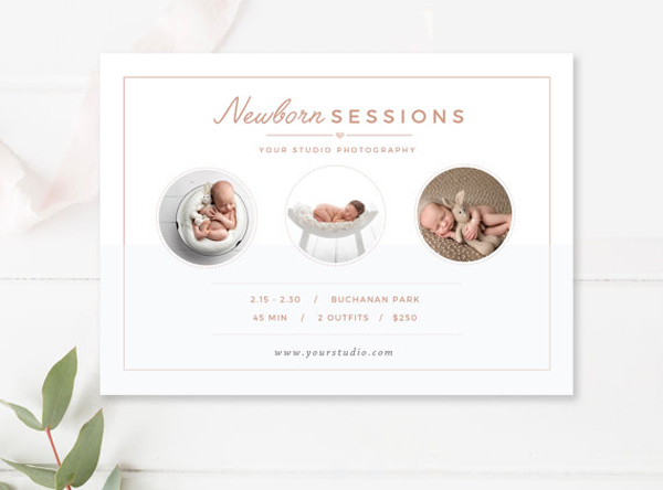newborn photographer marketing board - by stephanie design
