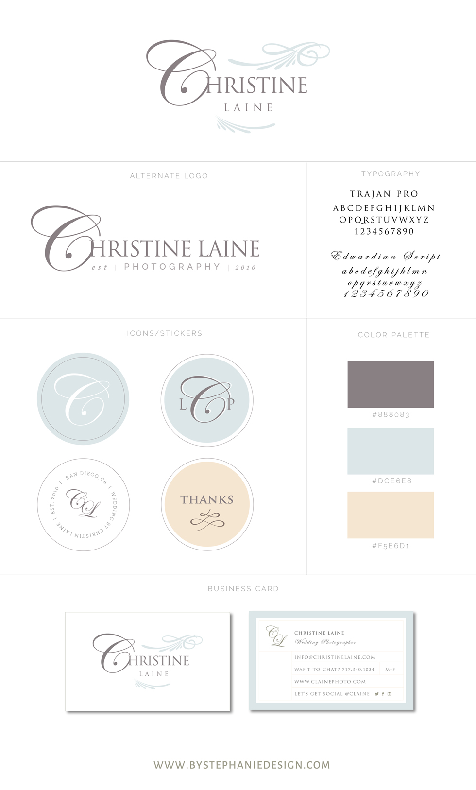 custom photographer branding suite - by stephanie design