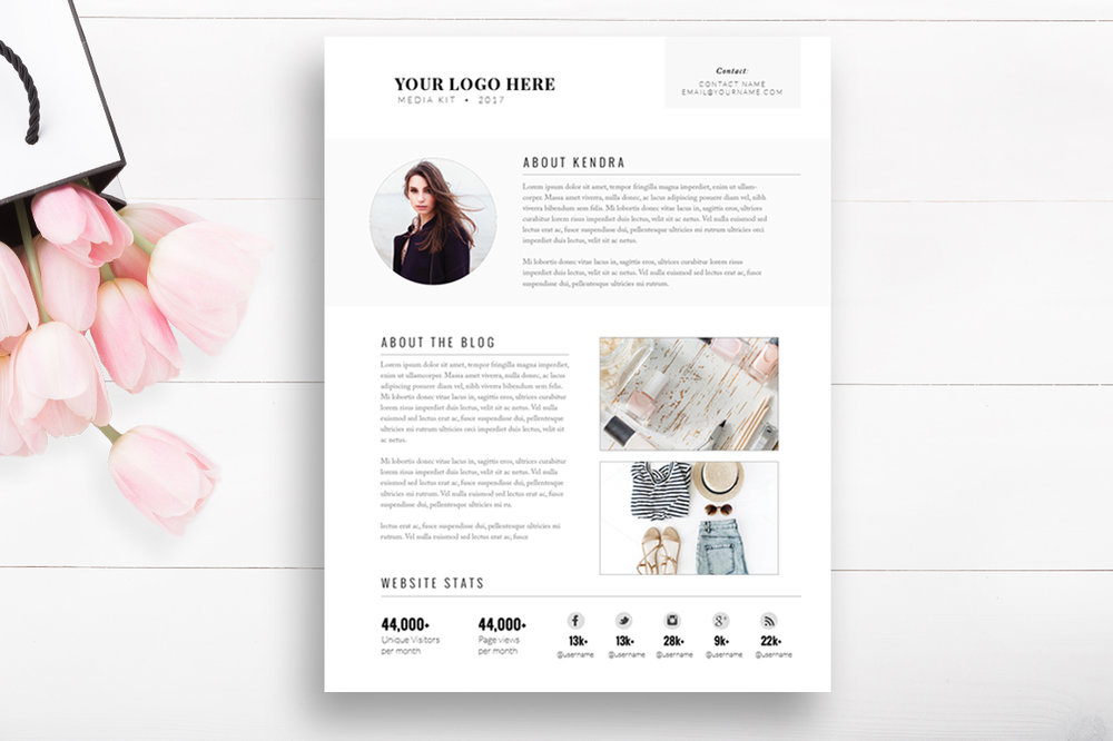Media kit template 2 page blogger media kit by stephanie design media kit template 2 page blogger media kit pronofoot35fo Images