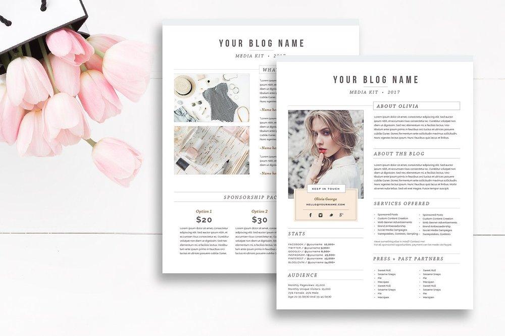 Media Kit Template 2 Page - Blogger Media Kit — By Stephanie Design