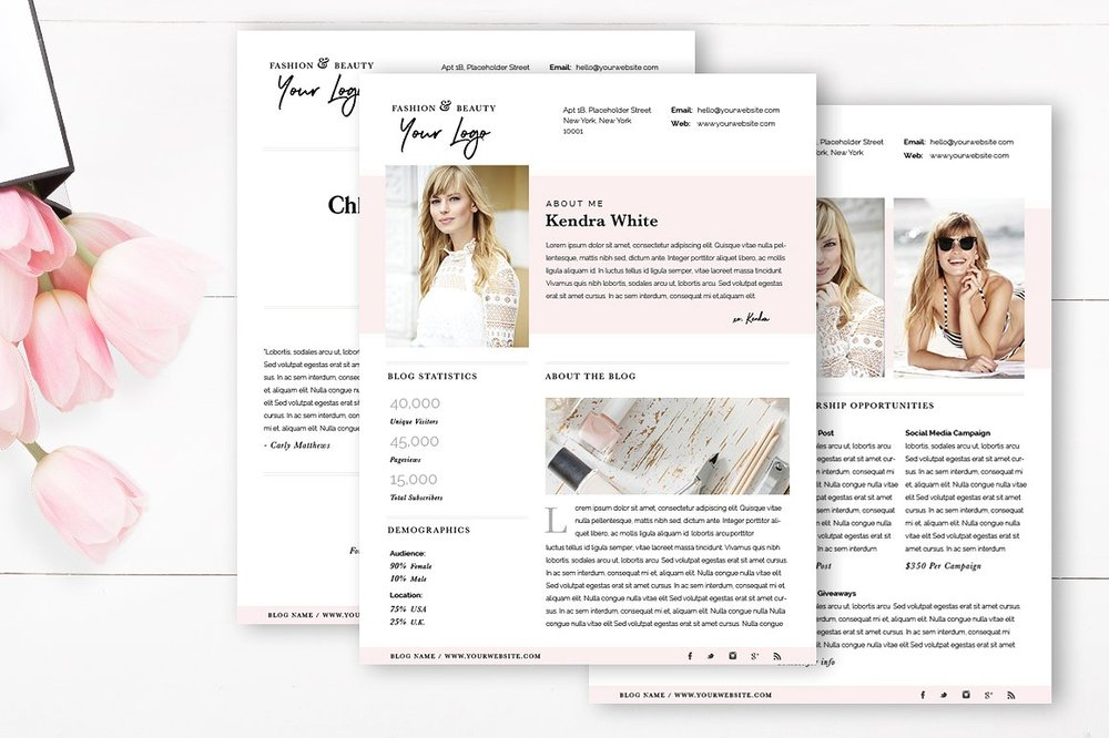 fashion blogger media kit photoshop template