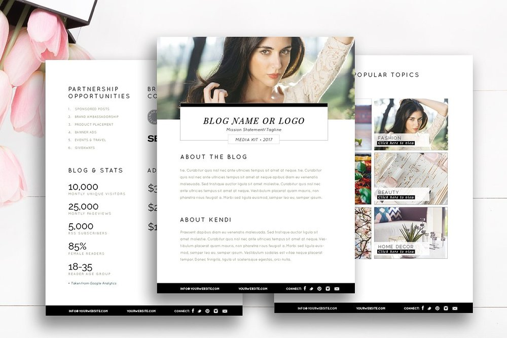 3-page fashion blogger media kit templates for photoshop and indesign | by stephanie design