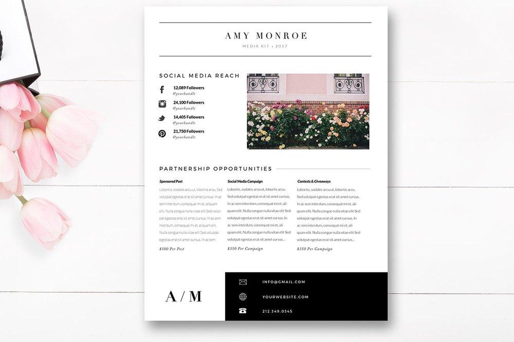 Media Kit Template 4 Page Blogger Media Kit By Stephanie Design