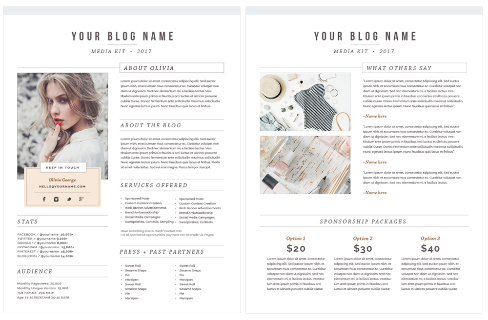 fashion blogger media kit template - by stephanie design