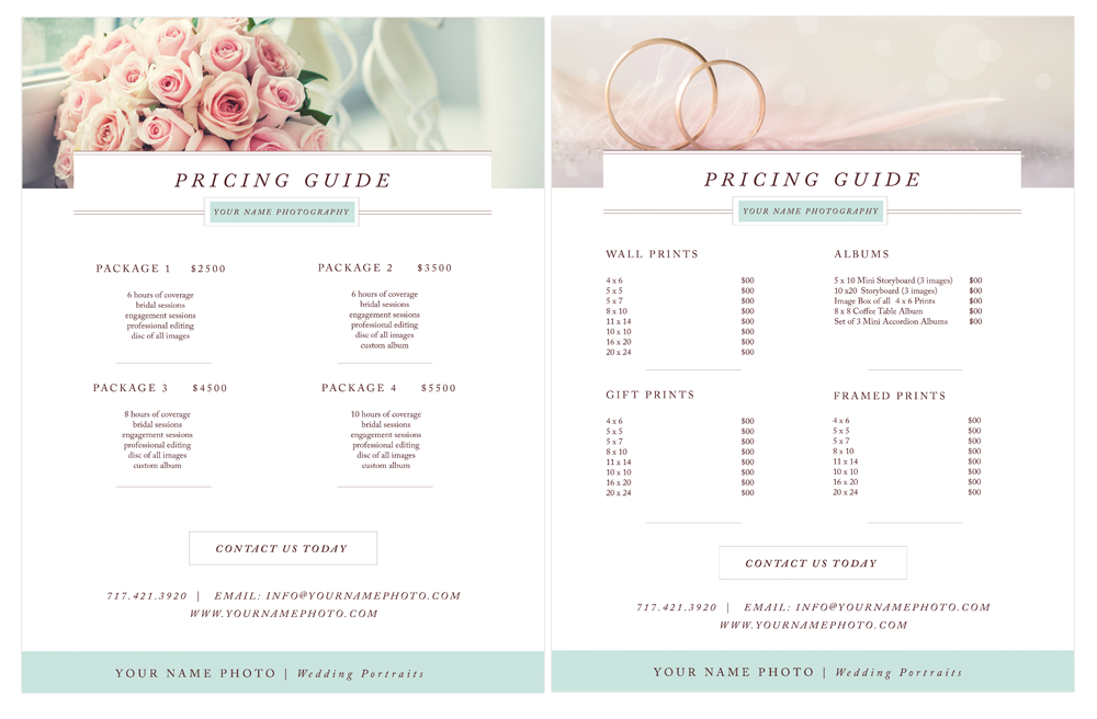 photographer pricing guide templates - by stephanie design