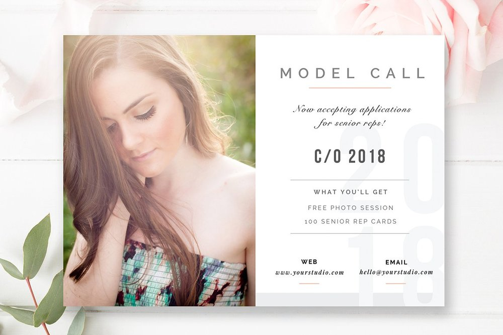 senior model call template digital photography marketing board