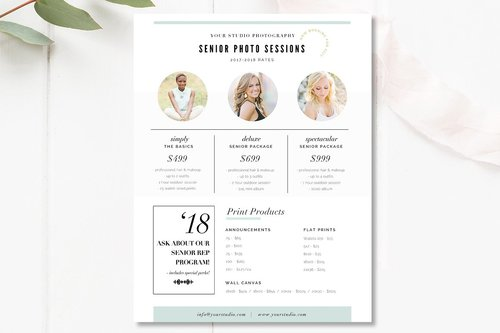 Senior Pricing Template Photography Guide