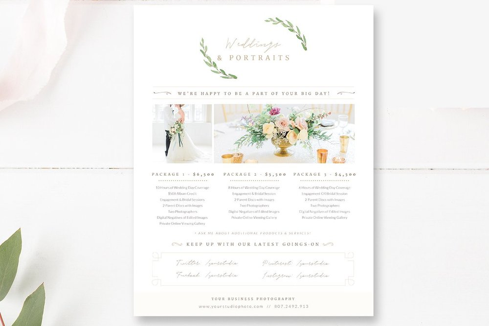 price list template for wedding photographers photographer templates by stephanie design. Black Bedroom Furniture Sets. Home Design Ideas