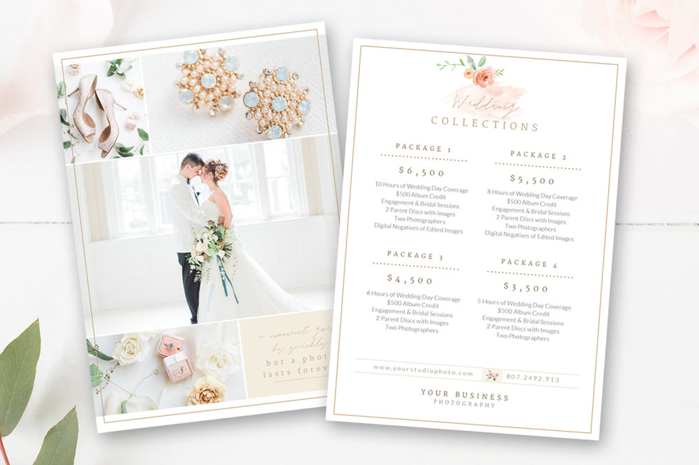 Wedding Price Sheet Photographer Pricing Guide By Stephanie Design
