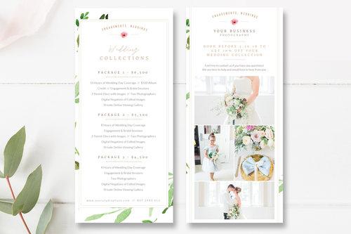 wedding photographer rack card photography marketing card template