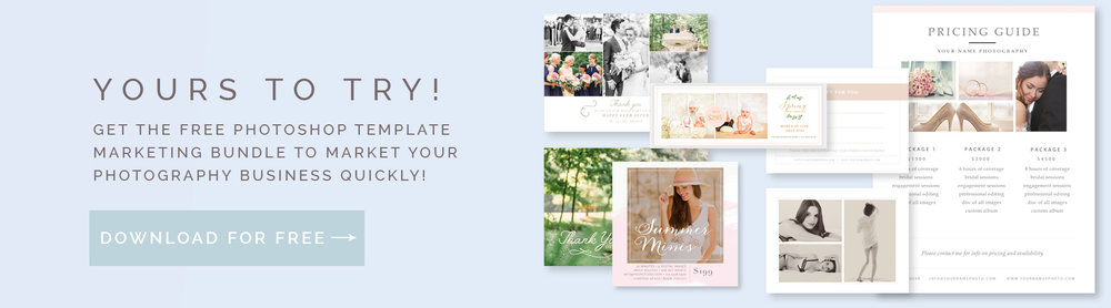 free photographer photoshop marketing templates - by stephanie design