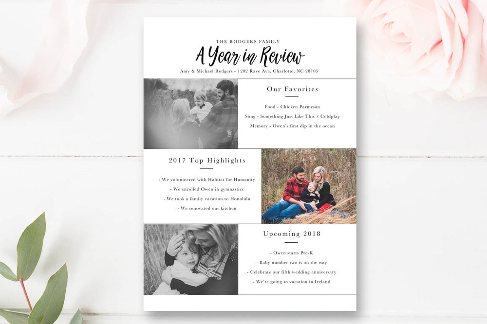 year in review christmas card template 5x7 photo card - Year In Review Christmas Card