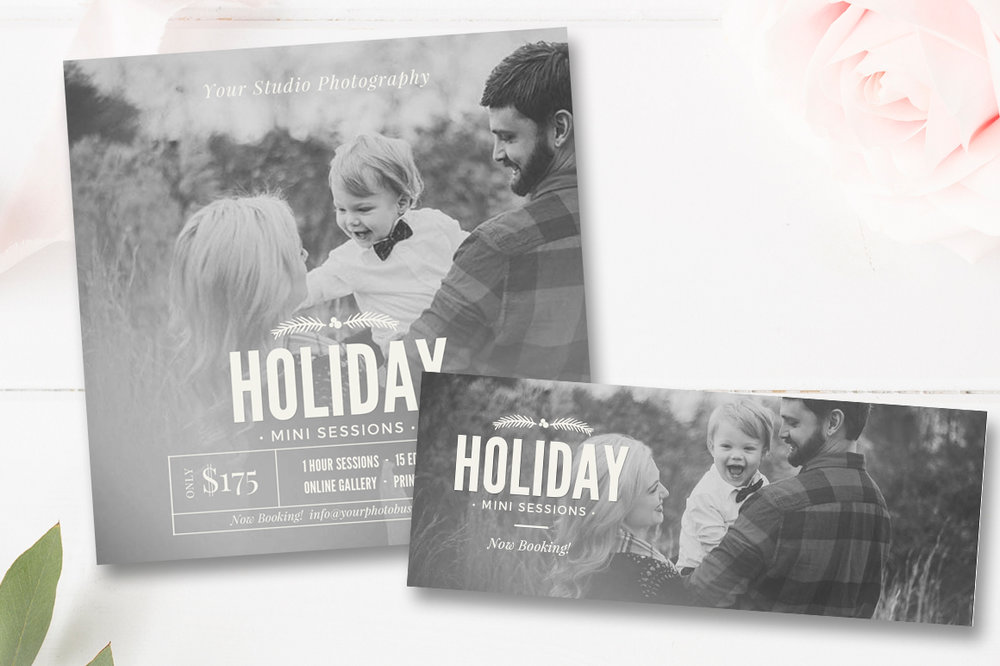 Holiday Mini Session Template Christmas Minis FREE Matching Facebook Cover