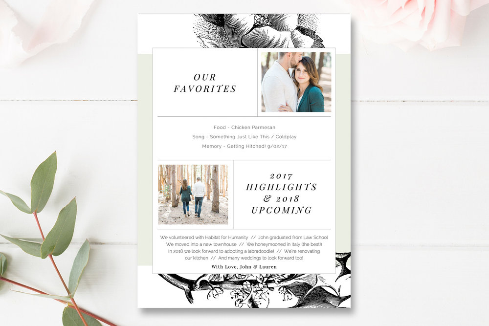 Year In Review 5x7 Photo Card Template Photoshop