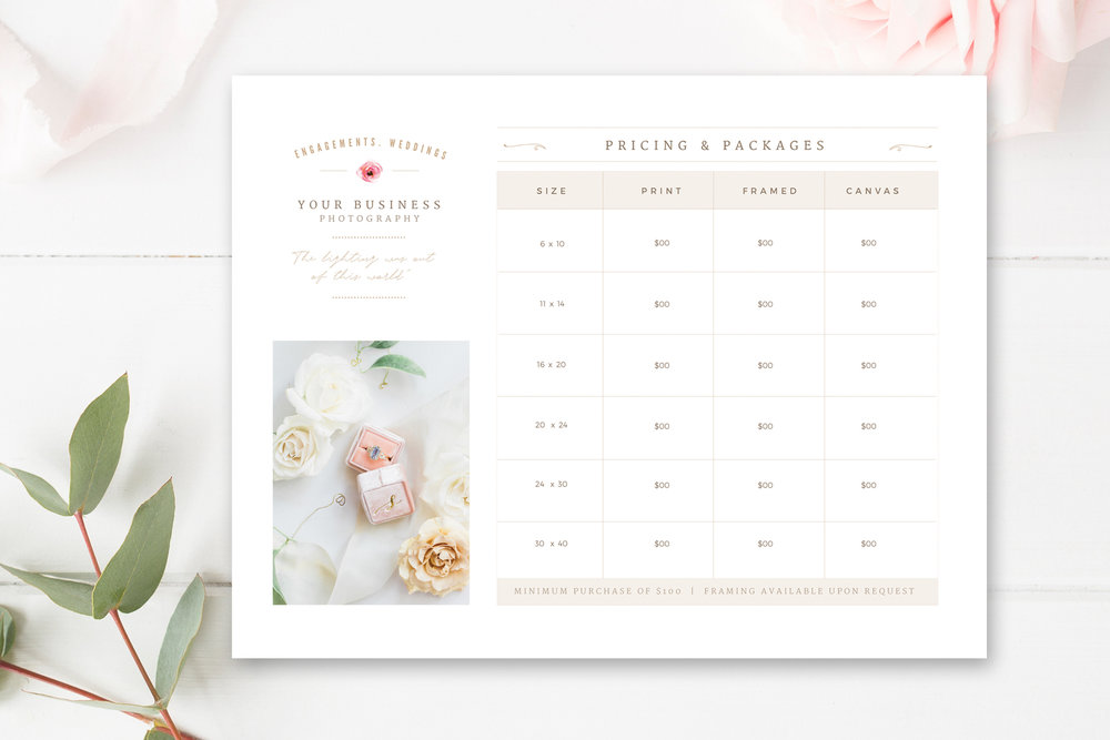 Price List Template For Wedding Photographer, Print Packages Pricing Sheet